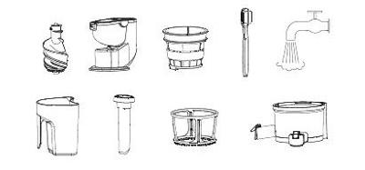 قطعات قابل شستشو آبمیوه گیر در ظرفشویی